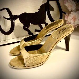 🍁 Gucci Golden Shine Heeled Sliders